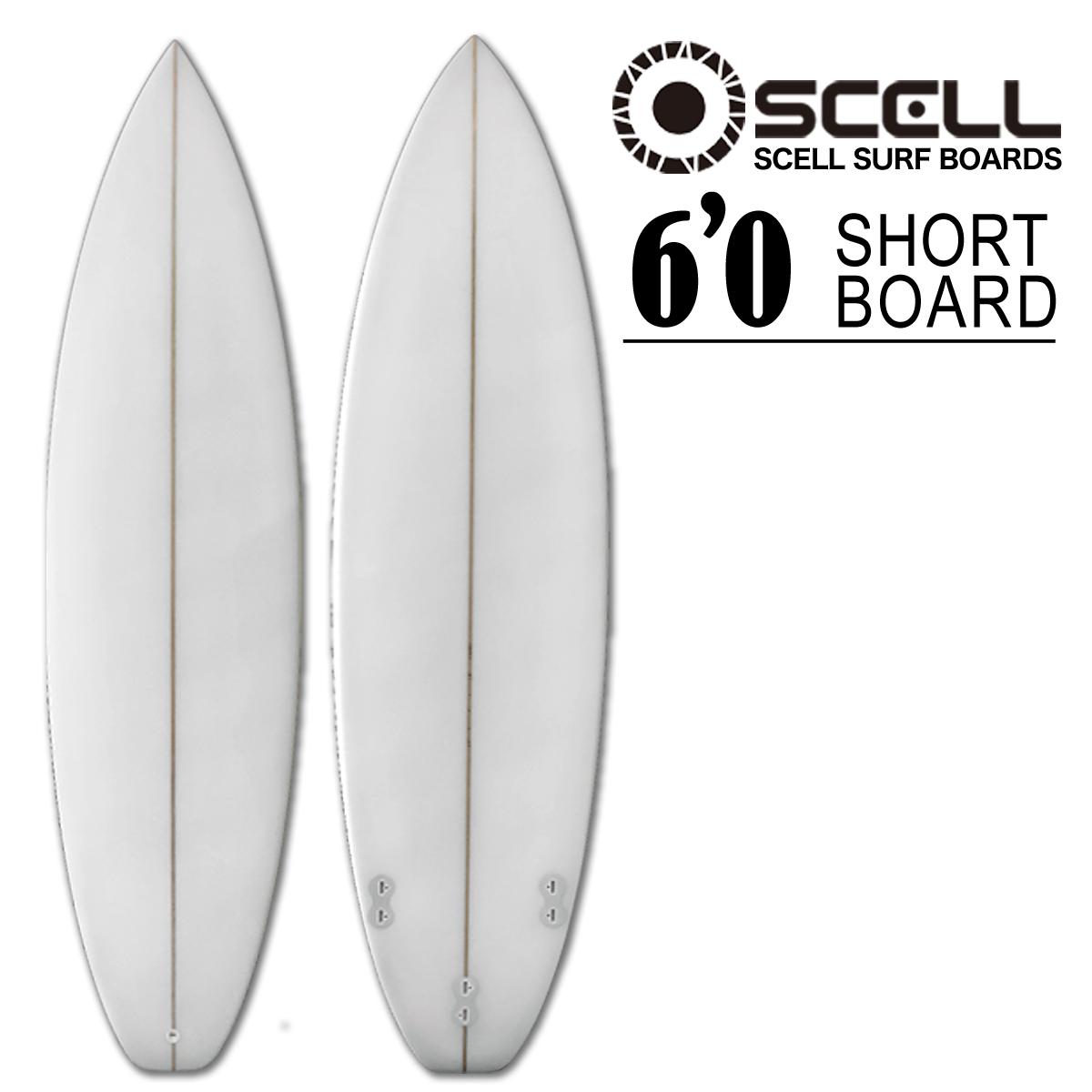 ショートボード サーフボード クリア 6'0 ホワイト 白 初心者 上級者 トライフィン SCELL サーフィン
