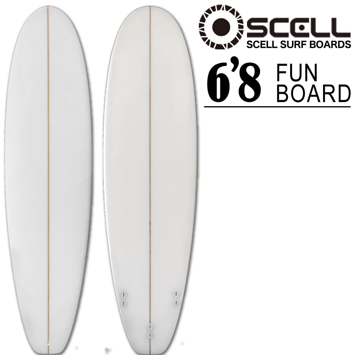 ファンボード 6'8 クリア ホワイト 白 初心者 サーフボード Surfboardトライフィン SCELL サーフィン