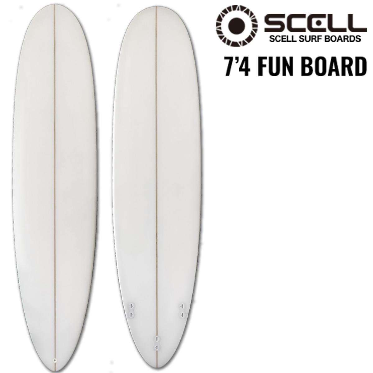 ファンボード 7'4 クリア ホワイト 白 初心者 サーフボード Surfboardトライフィン SCELL サーフィン