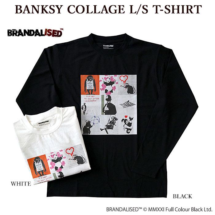 BRANDALISED ブランダライズド BANKSY COLLAGE L S T-SHIRT バンクシー ロンT 931007 メンズ 期間限定お試し価格 返品送料無料 レディース コラージュ 長袖Tシャツ
