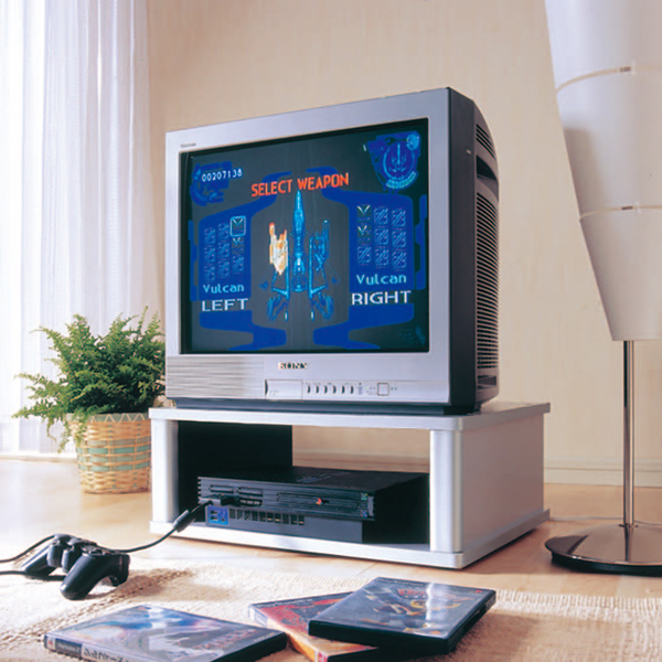 It Is A Left And Right To Rotate The TV Look Mini. VCR And Game Console  Storage Space. It Is A 21 Inch TV Size To Fit Size.