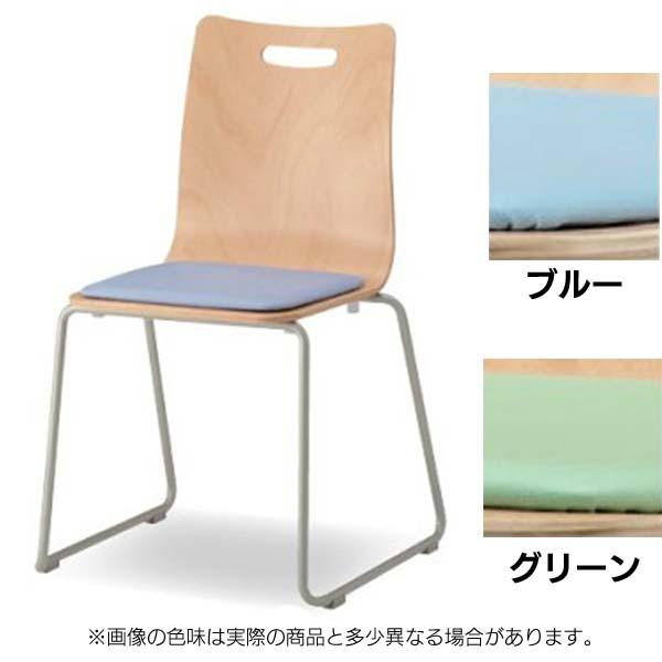 オフィスチェア ウッドエルチェア CWLC-R02-V ループ脚・パッド付 ブルー・グリーン 【TD】【CTS】【オフィスチェアー ミーティングチェア 椅子 会議室 イス スタッキング】
