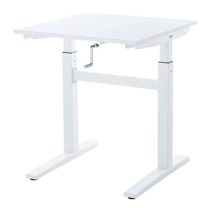 手動昇降デスク(W700) ERD-SH7070W送料無料 机 スタンディング デスク 会議テーブル ホワイト 立ち仕事 高さ調節 作業台 オフィス サンワサプライ 【TD】 【代引不可】