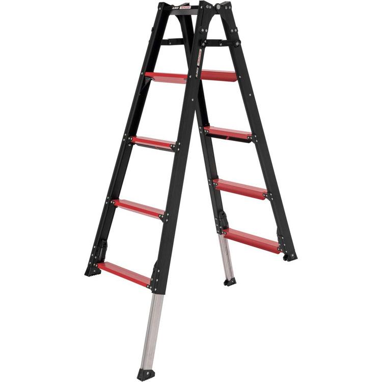 はしご兼用伸縮脚立4尺 GUD120送料無料 脚立 アルインコ 踏台 はしご 伸縮 内装 上部伸縮 かっこいい ブラック 軽量 【D】