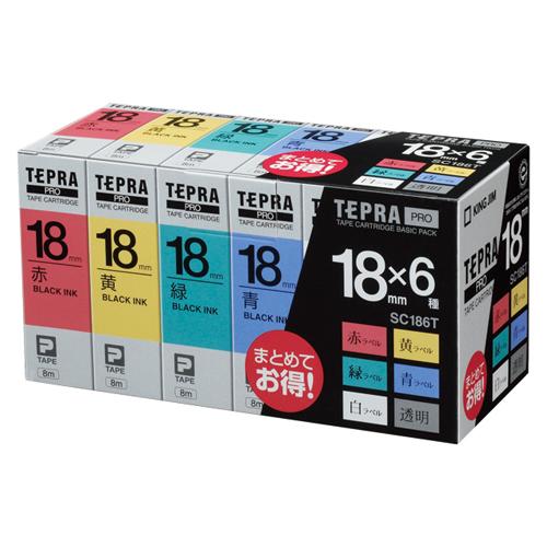 [キングジム]テプラテープ18mm巾ベーシックパック6巻入【SC186T】