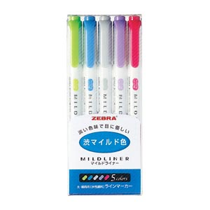 爆売り 従来の蛍光ペンに比べて色が優しい書類などをマーキングする際に 目がチカチカしにくいインク色です ゼブラ WKT7-5C-NC 即納送料無料 マイルドライナーNC渋マイルド色 5色セット