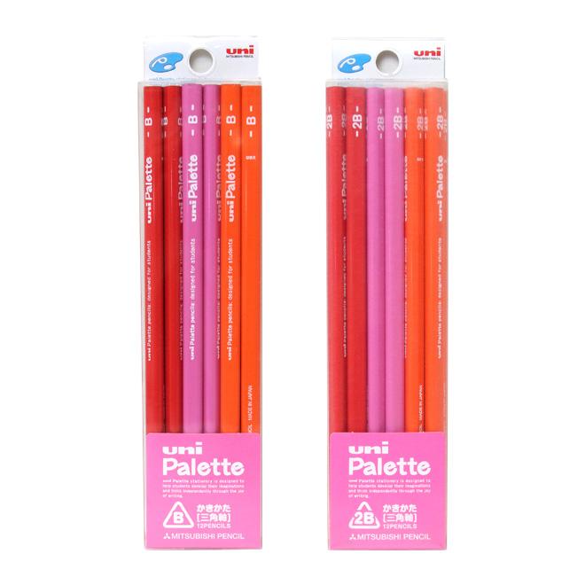 三菱鉛筆のハイセンスデザイン鉛筆! [名入れ不可]三菱鉛筆 uni Palette(ユニパレット) かきかた鉛筆 芯:B・2B 三角鉛筆 12本入 ピンク 4826 [M便 1/5]