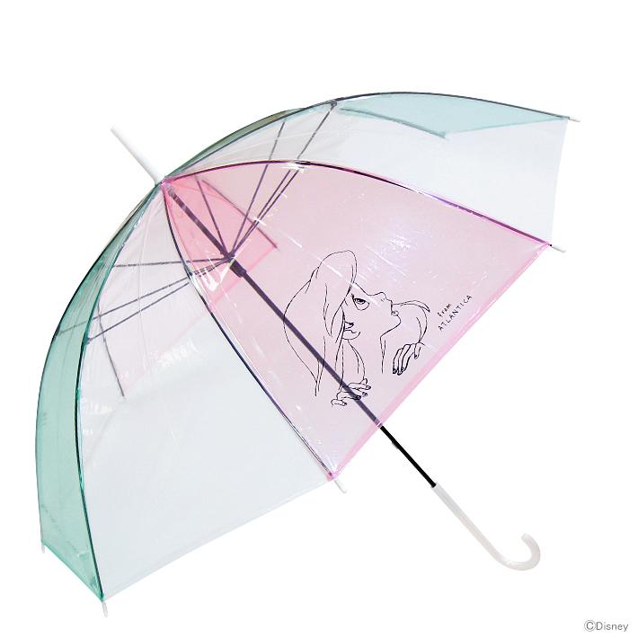 雨具 雨傘 休日 透明 おしゃれ かわいい disney 60cm DN37652 アリエル柄 disneyzone 傘 専門店 ディズニー