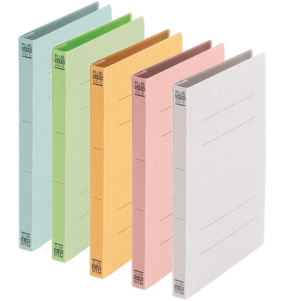 強度のある古紙パルプ配合の再生紙を使用。 【A5-S・全5色】プラス/フラットファイル (No.041N・78-09) A5 縦型 100%再生樹脂とじ具を使用。 PLUS