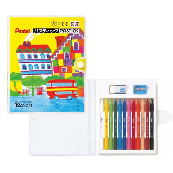 メール便対応可能商品です メール便をご希望の場合はご利用条件をご確認下さい 12色セット ぺんてる パスティック12色 GC1-12D 図工 SALE 学童用品 Pentel 即納送料無料! 工作 美術 芯だけでできたソフトな色鉛筆