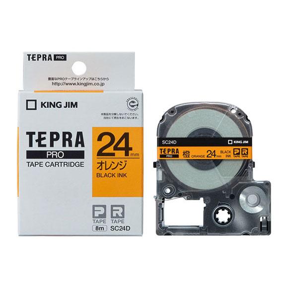 豊富なサイズとバリエーションの中から 使用シーンや用途に合わせて選べます キングジム テプラ PRO用 テプラテープ SC24D 初回限定 パステル オレンジラベル 黒文字 TEPRA KING JIM 長さ8m 価格 幅24mm PROテープカートリッジ カラーラベル