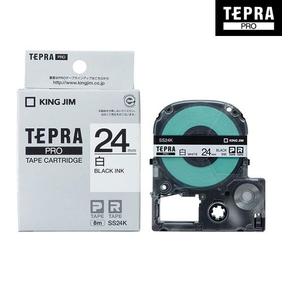 オフィスで大活躍 ポピュラーな白地のラベル キングジム テプラ PRO用 テプラテープ SS24K 商品追加値下げ在庫復活 白ラベル JIM KING TEPRA 幅24mm 長さ8m 黒文字 お値打ち価格で PROテープカートリッジ