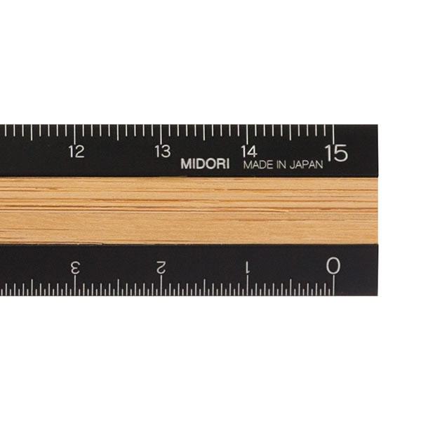 ミドリ/アルミ&ウッド定規<15cm>黒42270006アルミと竹を使っ