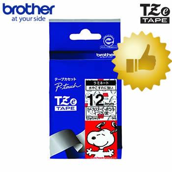 市販 メール便対応可能商品です 12mm幅 ブラザー ピータッチ用スヌーピーテープ TZe-SW31 スヌーピーホワイト 黒文字 12mm幅 長さ5m 即納 テープカートリッジ 入学 整理整頓 TZeテープ キャラクターテープ お名前付けに 入園 オフィスに brother