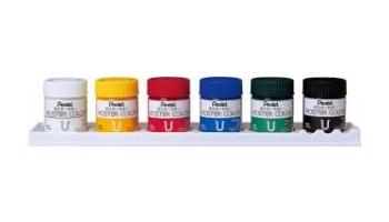펜텔/포스터 컬러 U6색(WPU2-6 DN) 6색세트의 받침대는 팔레트로서 사용할 수 있습니다.물감・그림도구