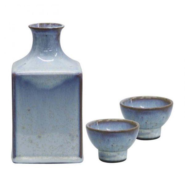 [4954192145130] 【2個入】 藍花 角窯変酒器 白雲 ぐい呑(2個)・徳利ギフトセット 14513