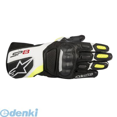 アルパインスターズ alpinestars 8021506614913 SP-8 LEATHER GLOVE 8317 125 BLACK WHITE YELLOW FLUO S