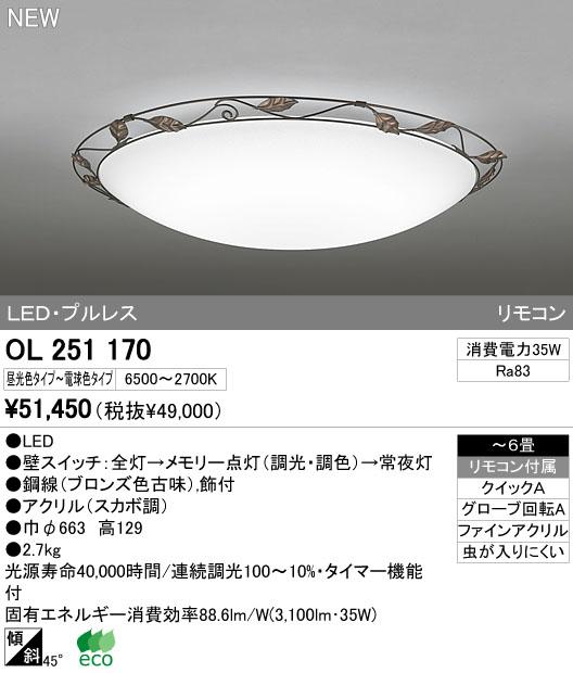 オーデリック ODELIC OL251170 LEDシーリングライト