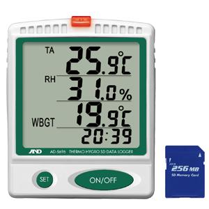 【使用地域の記入が必要】エーアンドデイ(A&D) [AD-5696] 温湿度 SDデータロガー / 熱中症指数モニター 熱中症対策 グッズ 熱中症計 AD5696