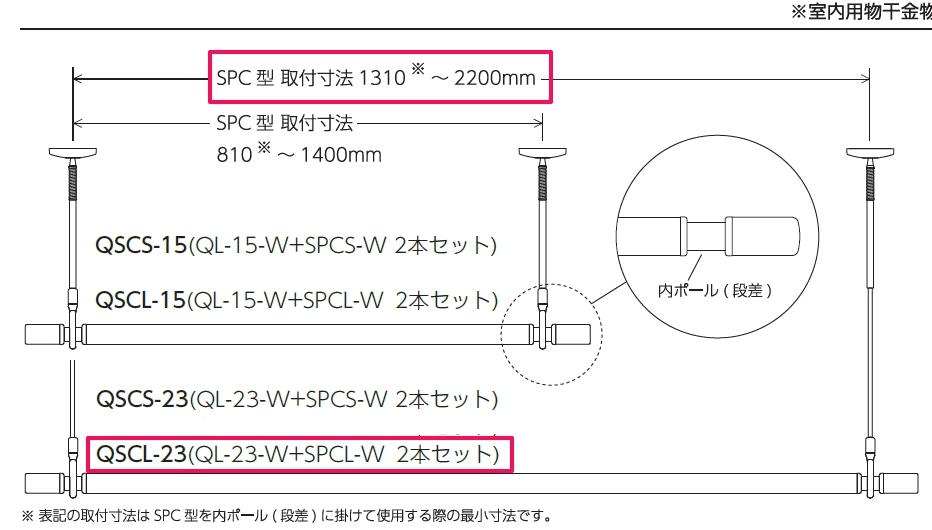 川口技研[QSCL-23]ホスクリーン 室内用物干竿セット【QSC型】ロングタイプQSCL23