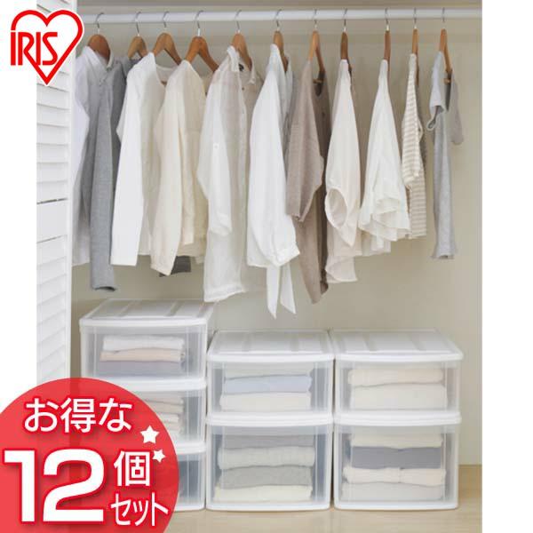 【12個セット】チェストI S ホワイト/クリア アイリスオーヤマ