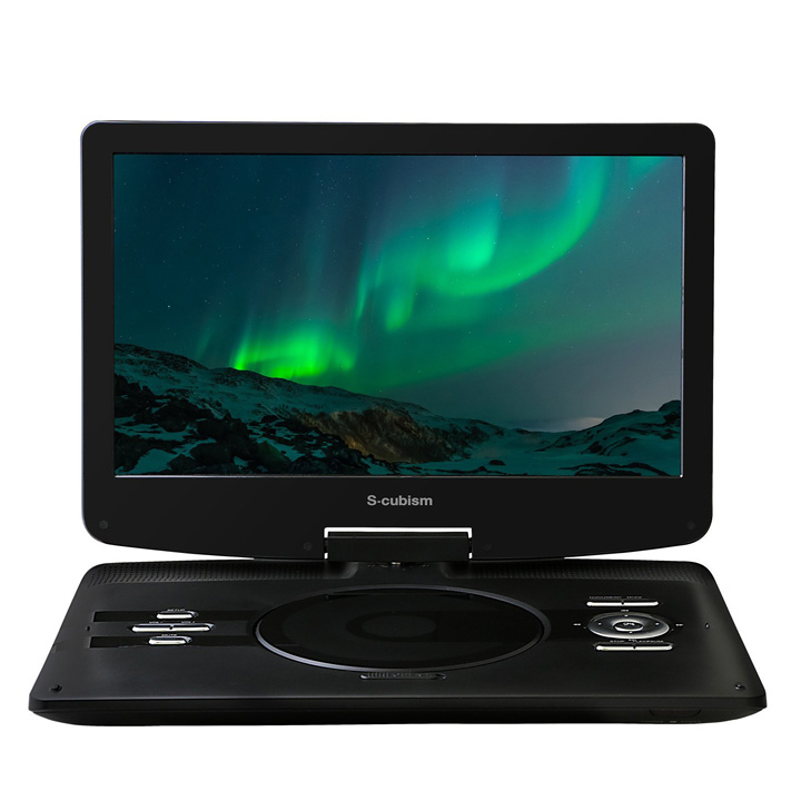 S-cubism 12.5インチ ポータブルDVDプレーヤー 内蔵バッテリー APD-1251送料無料 コンパクト 再生 充電 液晶 エスキュービズム 【D】