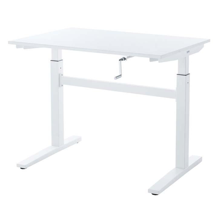 手動昇降デスク(W1000) ERD-SH10070W送料無料 机 スタンディング デスク 会議テーブル ホワイト 立ち仕事 高さ調節 作業台 オフィス サンワサプライ 【TD】 【代引不可】
