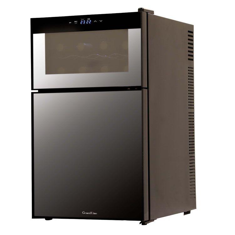 Grand-Line 2ドアミラーガラス冷蔵庫一体型ワインクーラー 62L ブラック WRH-M262送料無料 ワインクーラー 冷蔵庫一体型 ミラーガラス扉 ペルチェ式 ファン式 静音タイプ ワイン8本 62L ブラック WRH-M262 【D】