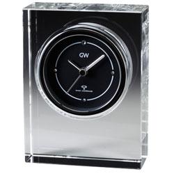 【オンリーワンギフト 最高級名入れ電波時計】クリスタルの輝きと透明感 光を屈折させる重量感 グラスワークス電波時計・ノヴァ