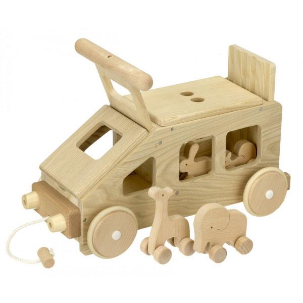 動物達をのせたかわいいトレーラーの木のおもちゃ☆ MOCCO 森のどうぶつトレーラー