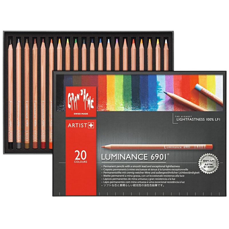 【名入れ無料】やわらかな描き心地で気持ちが良く退色しにくい油性色鉛筆 カラン ダッシュ ルミナンス6901 40色セット紙箱入
