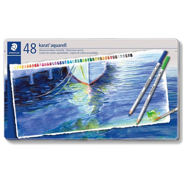 【名入れ無料】最高級の書き心地 ステッドラー カラト アクェレル 水彩色鉛筆48色