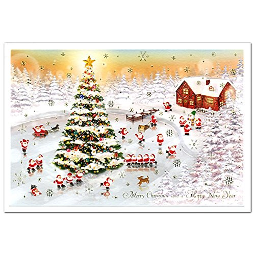 Merry Christmas New Lovely Beautiful Christmas Card Skating Santa Greeting Life S 406