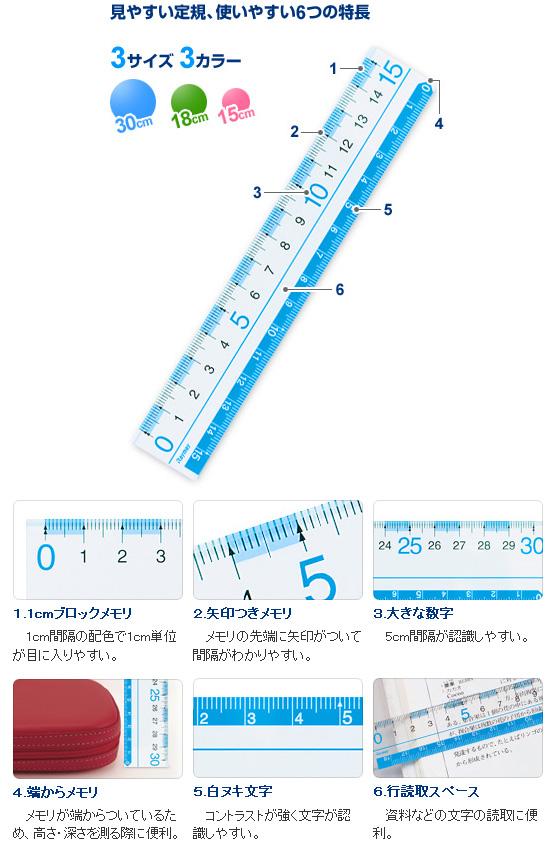 定規 ものさし 30cm 見やすい定規(30cm) 30センチものさし【メール便可】[M便 1/5]