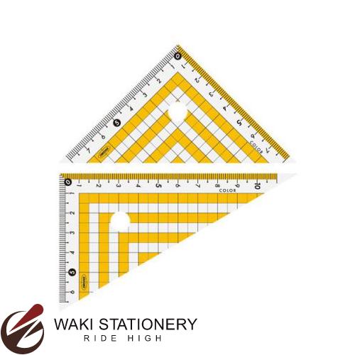 訳あり 10点までメール便対応可 共栄プラスチック カラー三角定規 12cm CPK-120 いつでも送料無料 クリア×イエロー CPK-120-Y