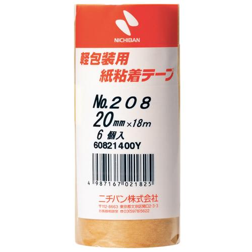 ニチバン 紙粘着テープ 20mm幅 6コ入 茶 [208] / 60セット