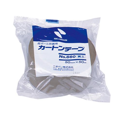 ニチバン カートンテープ 50mm幅 黄土 6607-50 / 50セット