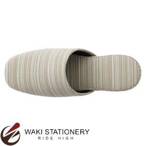 エフィル うね織り縞柄スリッパ 亜麻 10800070 / 30セット