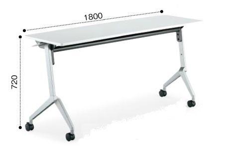 コクヨ KT-S1200PAWN 会議用フラップテーブル リーフライン パネルなし 棚付き W1800×D450