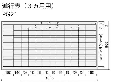 コクヨ ホワイトボード BB-H900シリーズ 壁掛け 進行表(3ヶ月用) 板面W1755×H858 BB-H936W-PG21