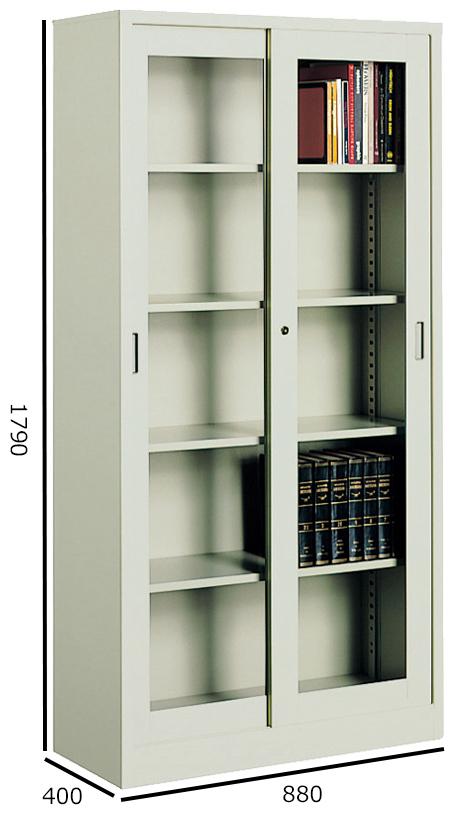 コクヨ S型保管庫 保管庫浅型 ガラス引き違い戸タイプ W880H1790 下置き S-365GF1N