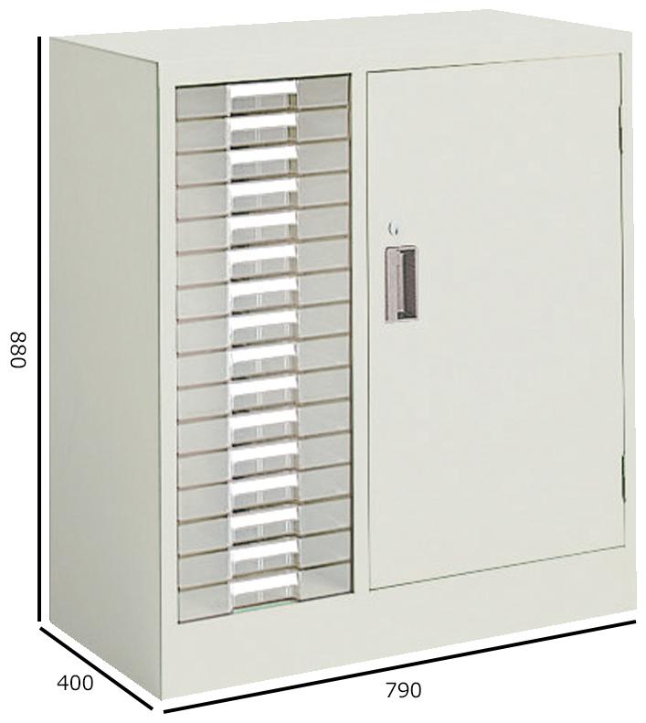 コクヨ S型保管庫 保管庫浅型 コンビタイプ(B4トレー・開き戸) 下置き H880W790 S-316F1N