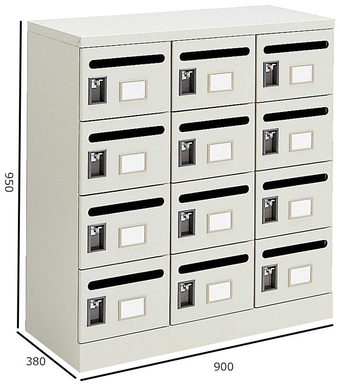 コクヨ S型保管庫 メールボックス 3列4段 W900H950 MB-1F1N