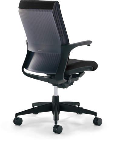 コクヨ オフィスチェアー M4 ブラックシェル 樹脂脚タイプ ブラック色(布) 固定肘 カーペット用 CR-G2201F6GGE6-W