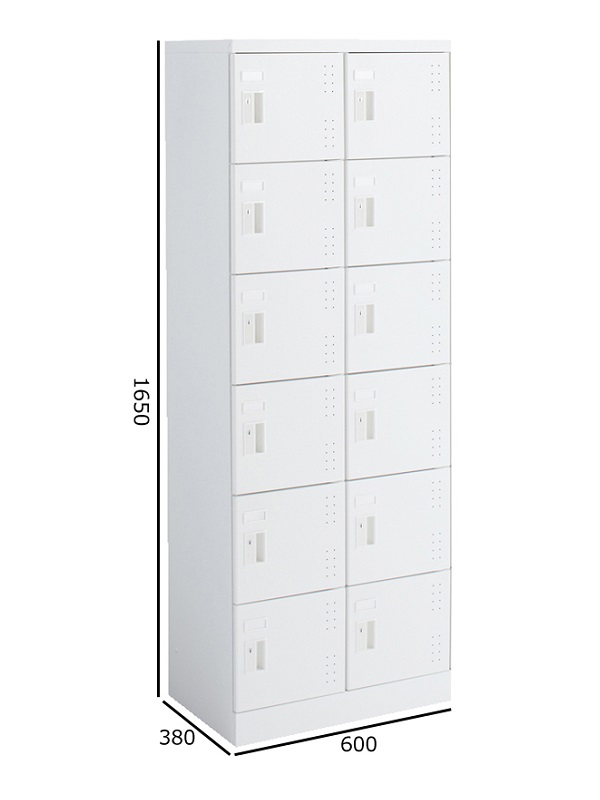 コクヨ シューズボックス<SBXシリーズ> ホワイト 2列6段(中棚付き) 扉付き 扉色ホワイト 引き手タイプ SBX-K26TSAW