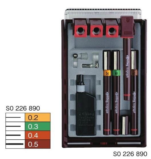 ロットリング イソグラフセット 4本セット 製図ペン4本(0.2+0.3+0.4+0.5mm) S0 226 890
