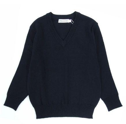 69d8d84e7731d3 Prevention of school sweater navy long sleeves dark blue plain fabric wool  blend cardigan boy girl ...