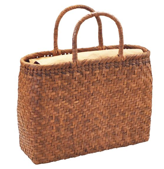 山葡萄 籠バッグ L (内布・かぶせ付) 長角 網代編み 浴衣 カゴバッグ かごバック カゴバック やまぶどう