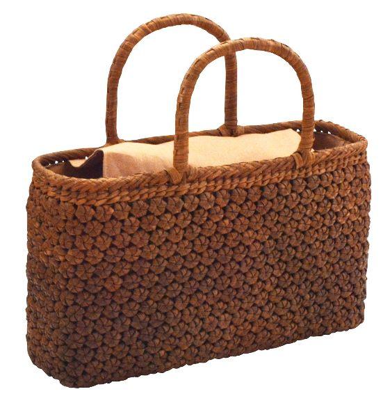 山葡萄 籠バッグ (内布・かぶせ付) 5ミリ六角花編み 浴衣 カゴバッグ かごバック カゴバック やまぶどう