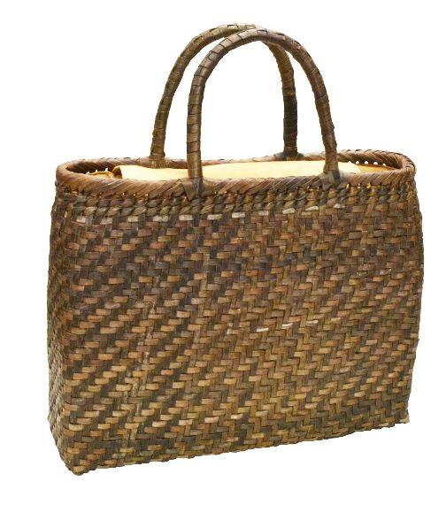 山葡萄 籠バッグ L (内布・かぶせ付) 胡桃 網代編み 浴衣 カゴバッグ かごバック カゴバック やまぶどう